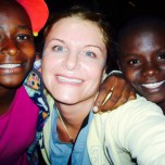 Elizabeth with Millicent and Beryl, two 12-year-old Kenyan Relief orphans who she has a special relationship with.