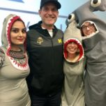 From left, Mediha Ibrahim, Jim Harbaugh, Denise Lassaline and Casey Cox