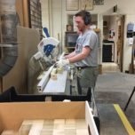 Construction Services cabinet maker Mike Mattila cut over 10,000 blocks out of poplar.